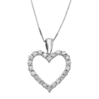 1/2 Carat T.W. IGL Certified Diamond 14k Gold Heart Pendant Necklace