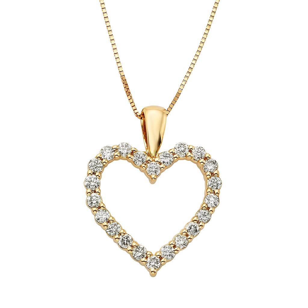 1/2 Carat T.W. IGL Certified Diamond 14k Gold Heart Pendant Necklace