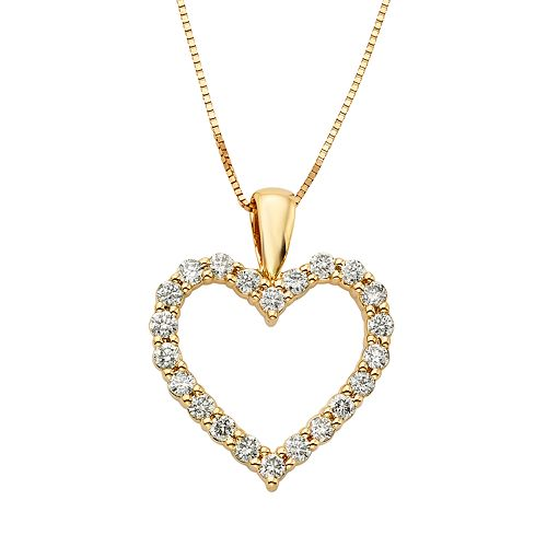 94354435b4d31 1/2 Carat T.W. IGL Certified Diamond 14k Gold Heart Pendant Necklace