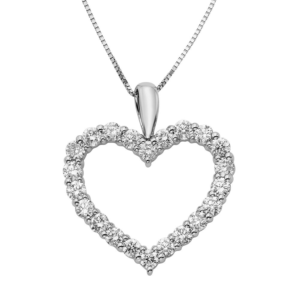 1 Carat T.W. IGL Certified Diamond 14k Gold Heart Pendant Necklace