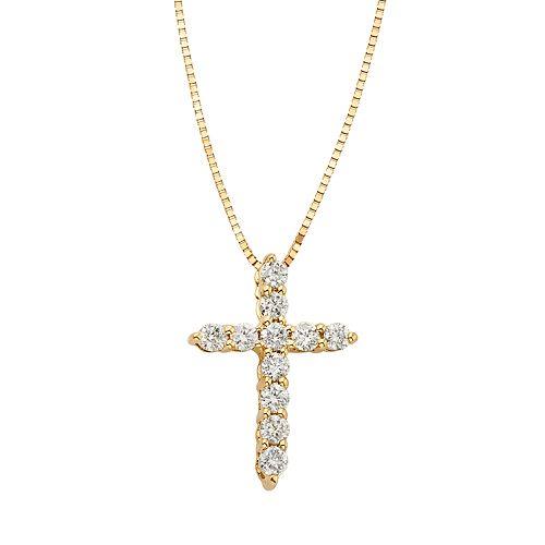 1/4 Carat T.W. IGL Certified Diamond 14k Gold Cross Pendant Necklace