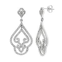 Diamond Essence Sterling Silver Crystal Filigree Drop Earrings
