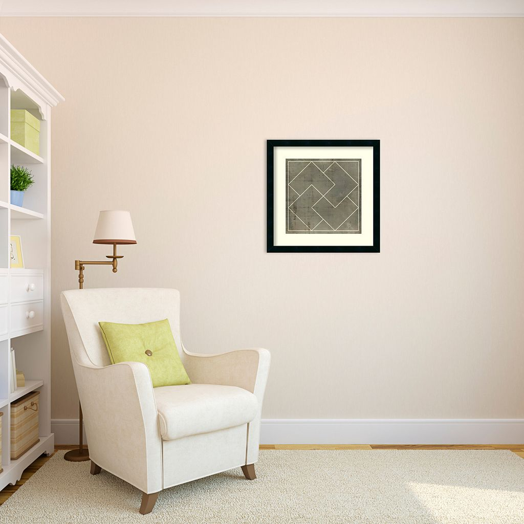 ''Geometric Blueprint III'' Framed Wall Art