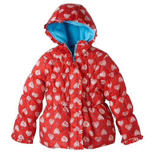 1fc107031 Girls 4-6x Pink Platinum Heart Polka-Dot Puffer Jacket