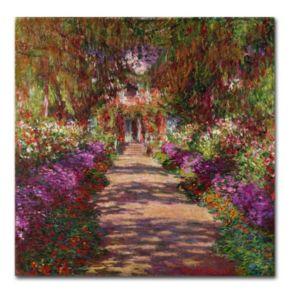 "18'' x 18'' ""A Pathway in Monet's Garden'' Canvas Wall Art by Claude Monet"