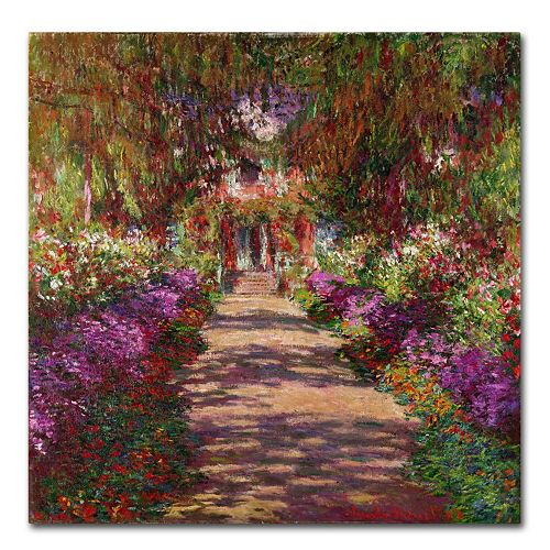 "24'' x 24'' ""A Pathway in Monet's Garden'' Canvas Wall Art by Claude Monet"