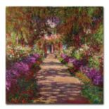 "35'' x 35'' ""A Pathway in Monet's Garden'' Canvas Wall Art by Claude Monet"
