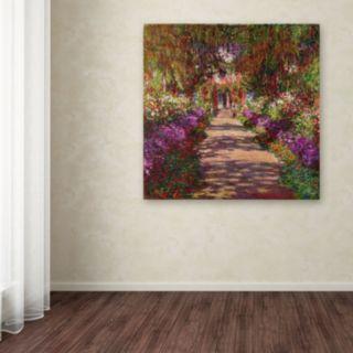 "35'' x 35'' ""A Pathway in Monet's Garden'' Canvas Wall Art by Claude Monet"