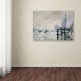 14'' x 19'' ''The Thames Below Westminster'' Canvas Wall Art by Claude Monet