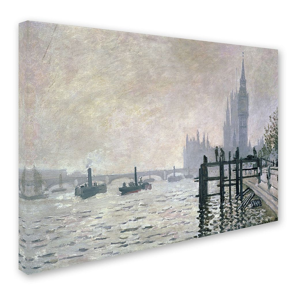 16'' x 24'' ''The Thames Below Westminster'' Canvas Wall Art by Claude Monet