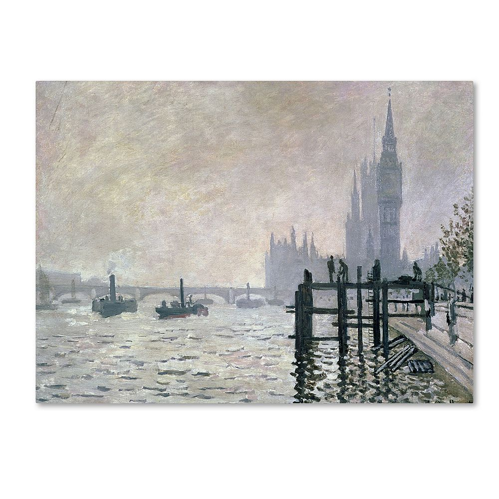 22'' x 32'' ''The Thames Below Westminster'' Canvas Wall Art by Claude Monet