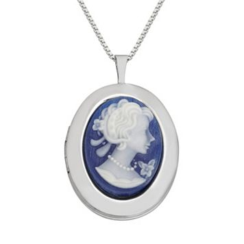 Sterling Silver Cameo Locket Necklace