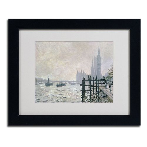 11'' x 14'' ''The Thames Below Westminster'' Framed Canvas Wall Art by Claude Monet