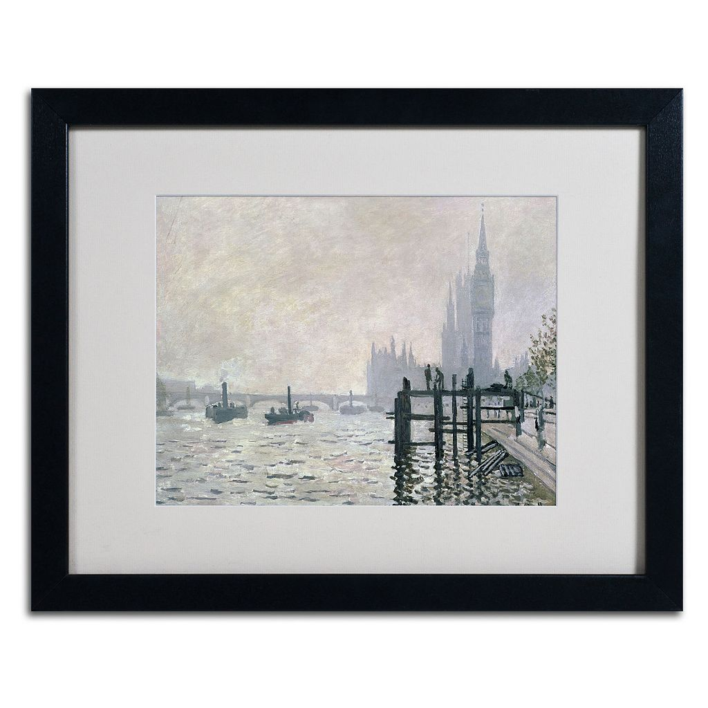16'' x 20'' ''The Thames Below Westminster'' Framed Canvas Wall Art by Claude Monet