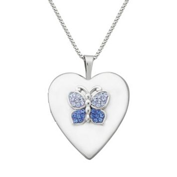 Sterling Silver Butterfly Locket Necklace - Made with Swarovski Cubic Zirconia