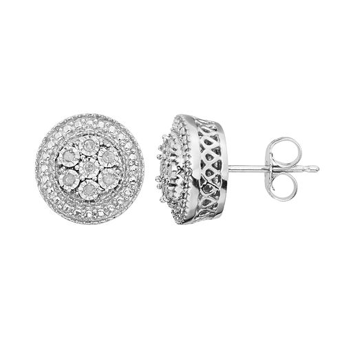Diamond Accent Sterling Silver Cluster Stud Earrings