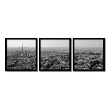 ''Paris Skyline'' 3-piece Framed Wall Art Set
