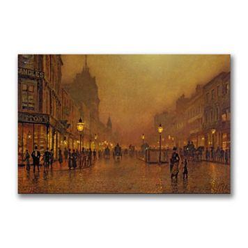 30'' x 47'' ''A Street at Night'' Canvas Wall Art