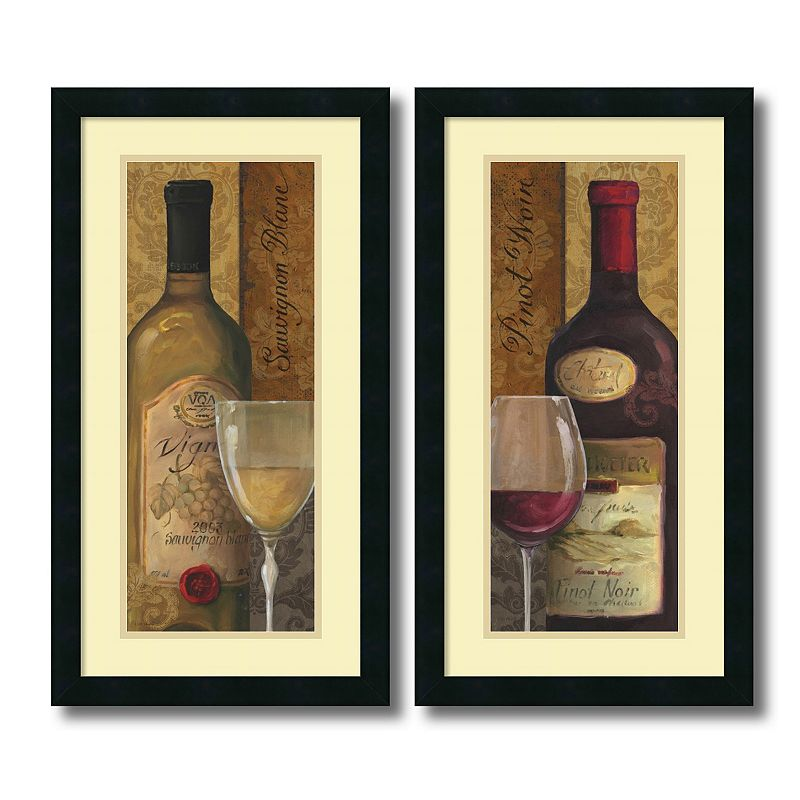 "From The Cellar"" 2-piece Wine Framed Wall Art Set, Black"