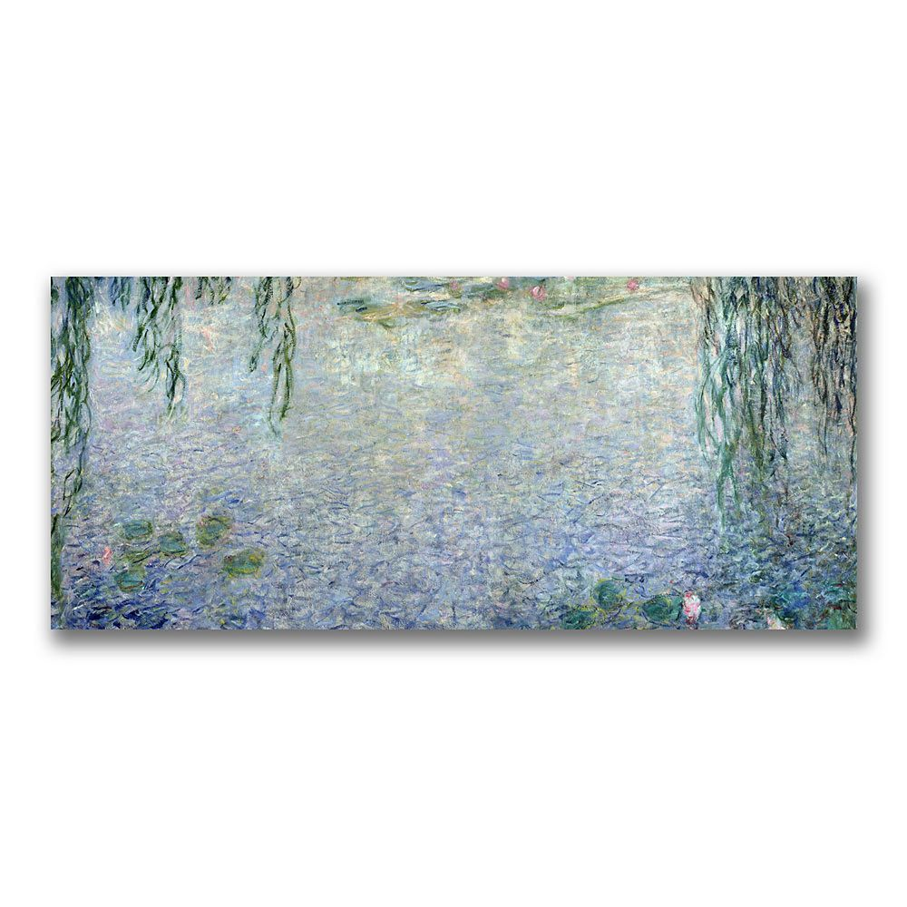 20'' x 47'' ''Water Lillies Morning II'' Canvas Wall Art by Claude Monet