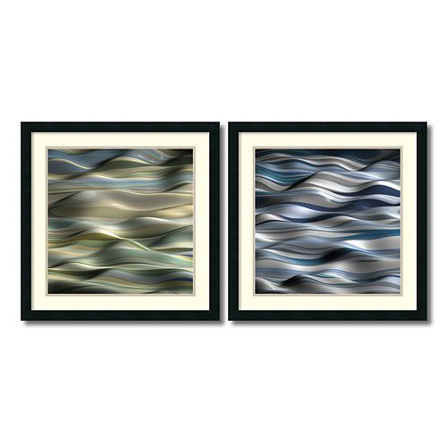 ''Undulation'' Wavy 2-piece Framed Wall Art Set