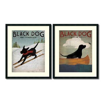 ''Black Dog'' 2-piece Framed Wall Art Set