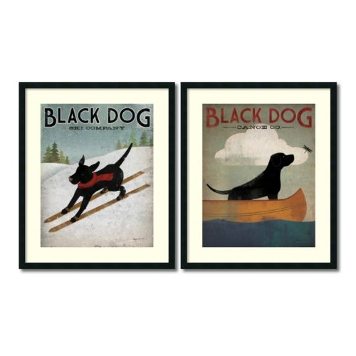 """Black Dog"" 2-piece Framed Wall Art Set"