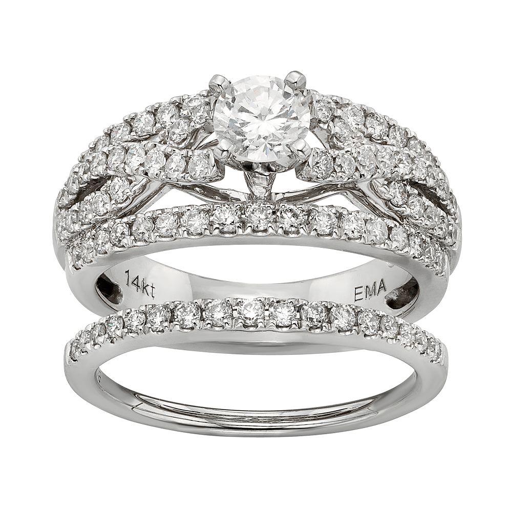 IGL Certified Diamond Crisscross Engagement Ring Set in 14k White Gold (1 Carat T.W.)