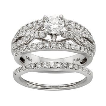 IGL Certified Diamond Crisscross Engagement Ring Set in 14k White Gold (1 Carat T.W.)