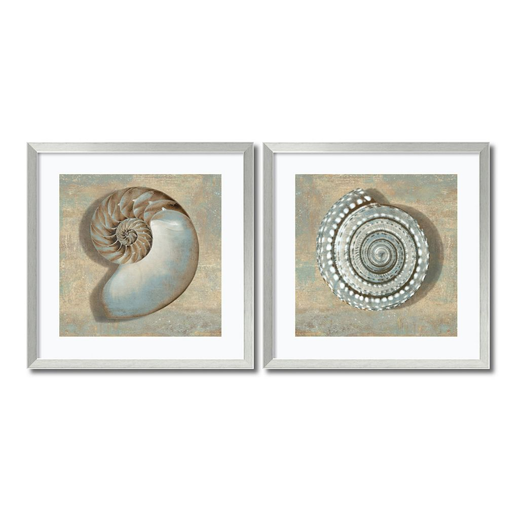 ''Aqua Shells'' 2-piece Framed Wall Art Set