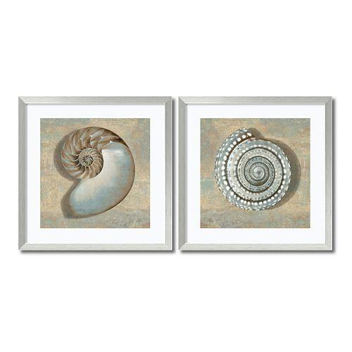 ''Aqua Shells'' 2-piece Framed Wall Art Set