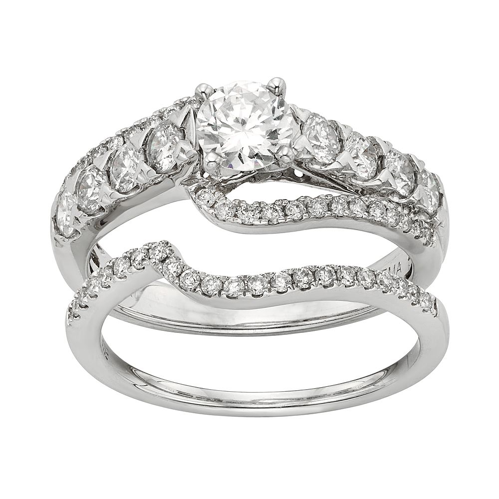 IGL Certified Diamond Curve Engagement Ring Set in 14k White Gold (1 Carat T.W.)