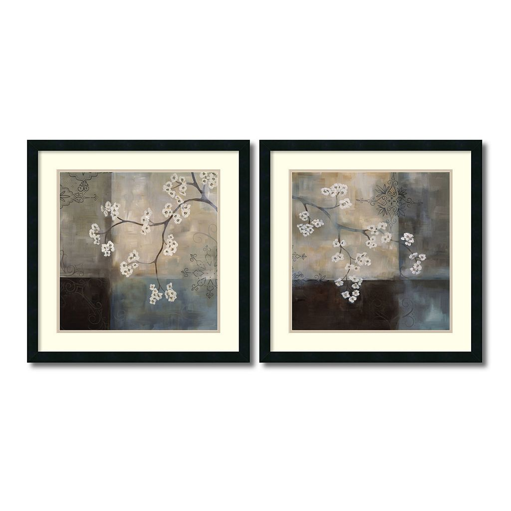 ''Spa Blossom'' Floral 2-piece 25'' x 25'' Framed Wall Art Set