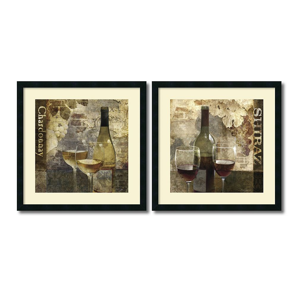 'Chardonnay & Shiraz'' Wine 2-piece Framed Wall Art Set