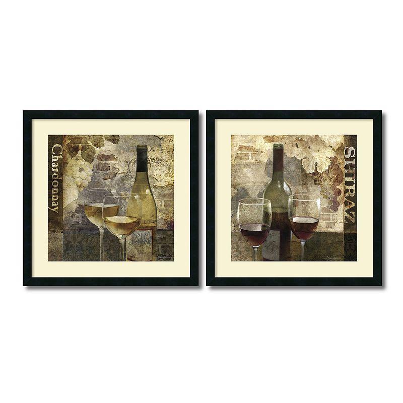 "'Chardonnay and Shiraz"" Wine 2-piece Framed Wall Art Set, Black"