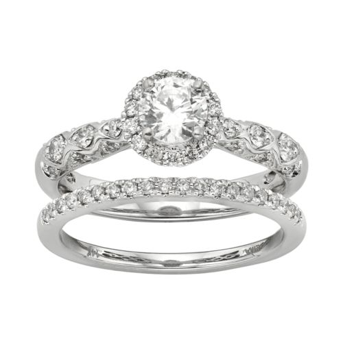 ... Square Halo Engagement Ring Set in 14k White Gold (1 Carat T.W