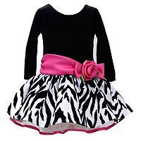 Bonnie Jean Velour Zebra Dress -Toddler Girl