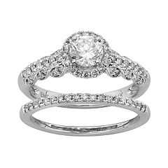 IGL Certified Diamond Halo Engagement Ring Set in 14k White Gold (1 Carat T.W.)