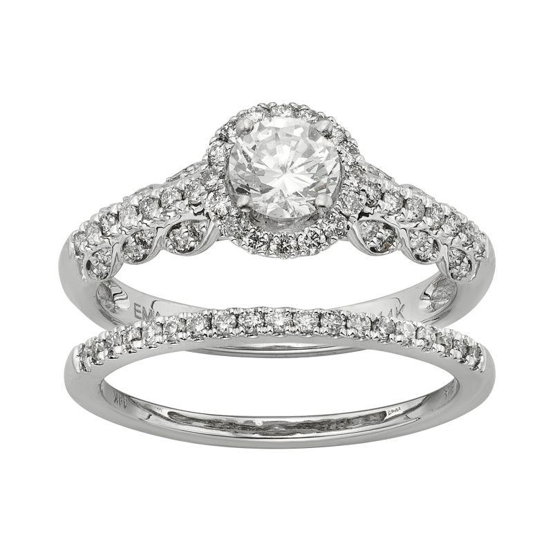 IGL Certified Diamond Halo Engagement Ring Set in 14k White Gold (1 ...