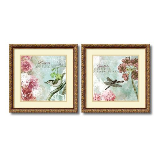 ''Tiffany Nature'' Floral 2-piece Framed Wall Art Set