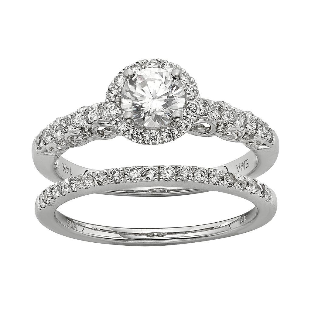 IGL Certified Diamond Halo Engagement Ring Set in 14k White Gold (1 Carat T.W.)