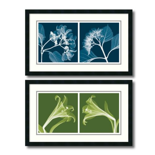 "'Lilies and Hydrangeas"" Floral 2-piece Framed Wall Art Set"