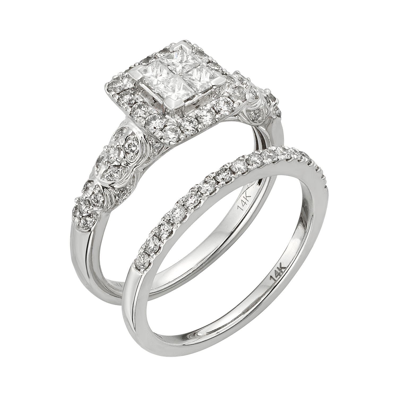 IGL Certified Diamond Square Halo Engagement Ring Set in 14k White