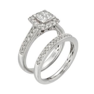 IGL Certified Diamond Square Halo Engagement Ring Set in 14k White Gold (1 Carat T.W.)