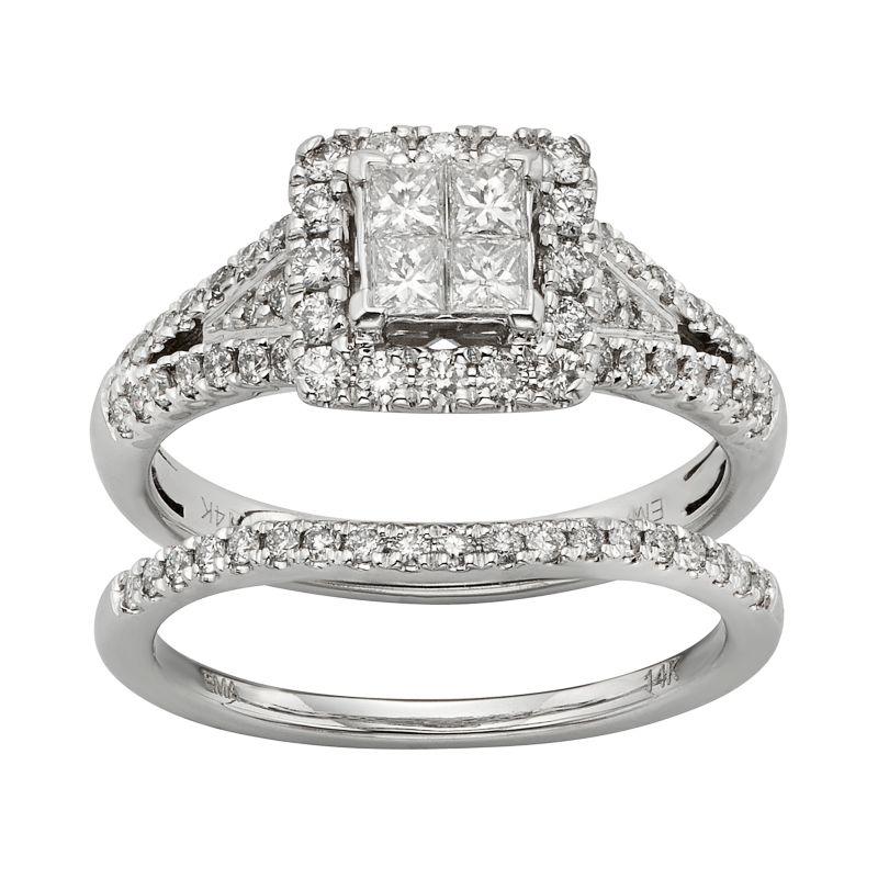 IGL Certified Diamond Square Halo Engagement Ring Set in 14k White ...