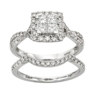 IGL Certified Diamond Crisscross Square Halo Engagement Ring Set in 14k White Gold (1 Carat T.W.)