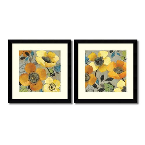 ''Poppies'' Floral 2-piece Framed Wall Art Set