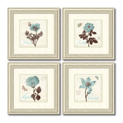 """Touch of Blue"" Floral 2-piece Framed Wall Art Set"