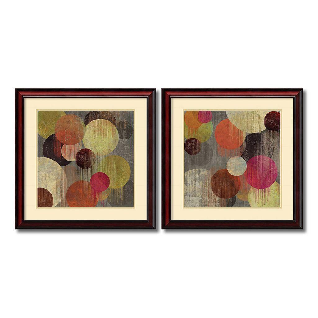 ''Magenta Bubbles'' Circle 2-piece Framed Wall Art Set