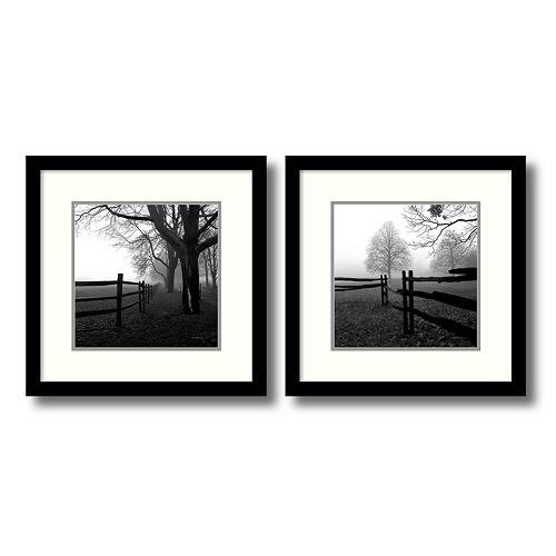 ''Corner Fence in the Mist'' Tree 2-piece Framed Wall Art Set